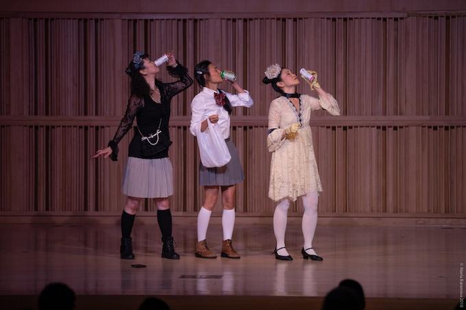 (L-R)Sonoko Kawahara, Kristine Haruna Lee, Dawn Akemi Saito at our Studio Visit at 2018 Prelude Festival | Photo by Maria Baranova