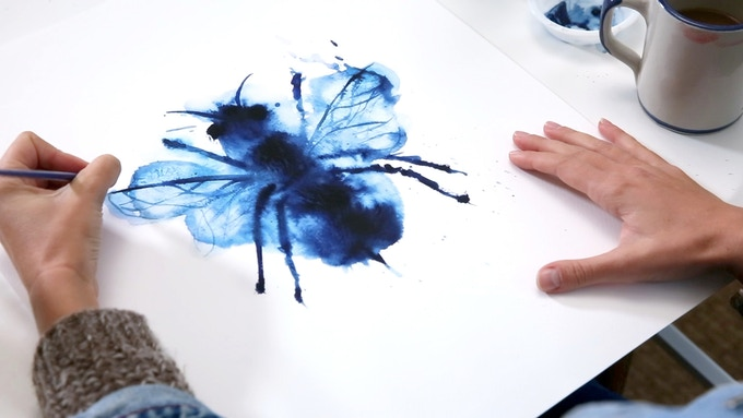 """""""Queen Bee"""" original Indigo Watercolor"""