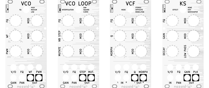 4 of the Nozori 68 modules : a shape morphing VCO, an oscillator based on a loop of slowly evolving random value, a morphing VCF and a Karlpus Strong string resonator module.