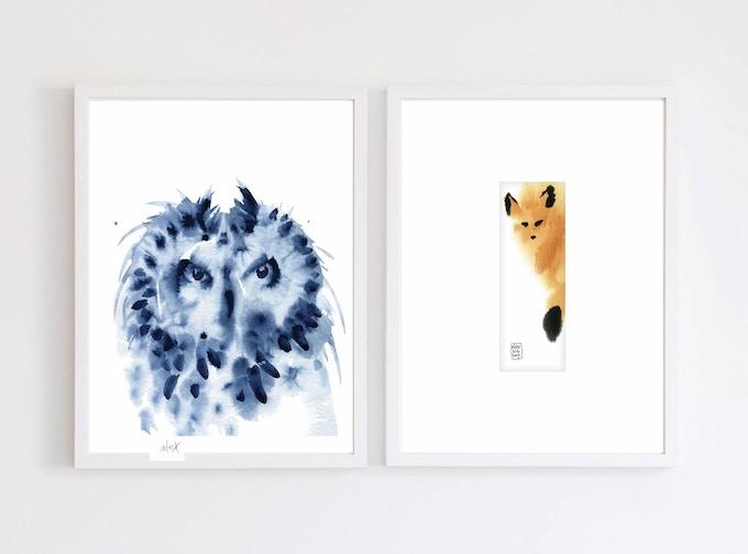 Indigo Horned Owl print and Original Beautiful Mistake #45