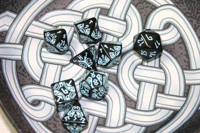 The dice set shown on our custom Viking Dice Tray.