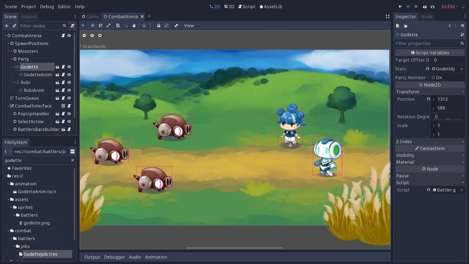 Our Open RPG engine running in Godot's 2d workspace