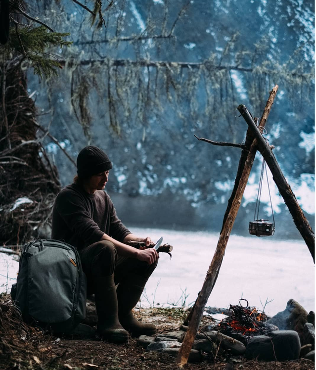 Whittlin' sticks by the campfire. @rjp301's sublime adventure in the foothills of the Rockies sounds like a perfect way to pass the time with your Sage 45L.