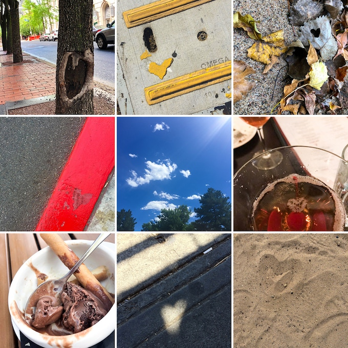 Nine photos of found heart shapes to choose from.
