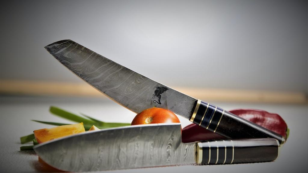 Hiroto Gold - Japanese Kiritsuke Damascus Knife Set