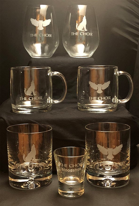 The Choir branded quality glassware | Hand etched by Lisa Michaels (Dan's wife)