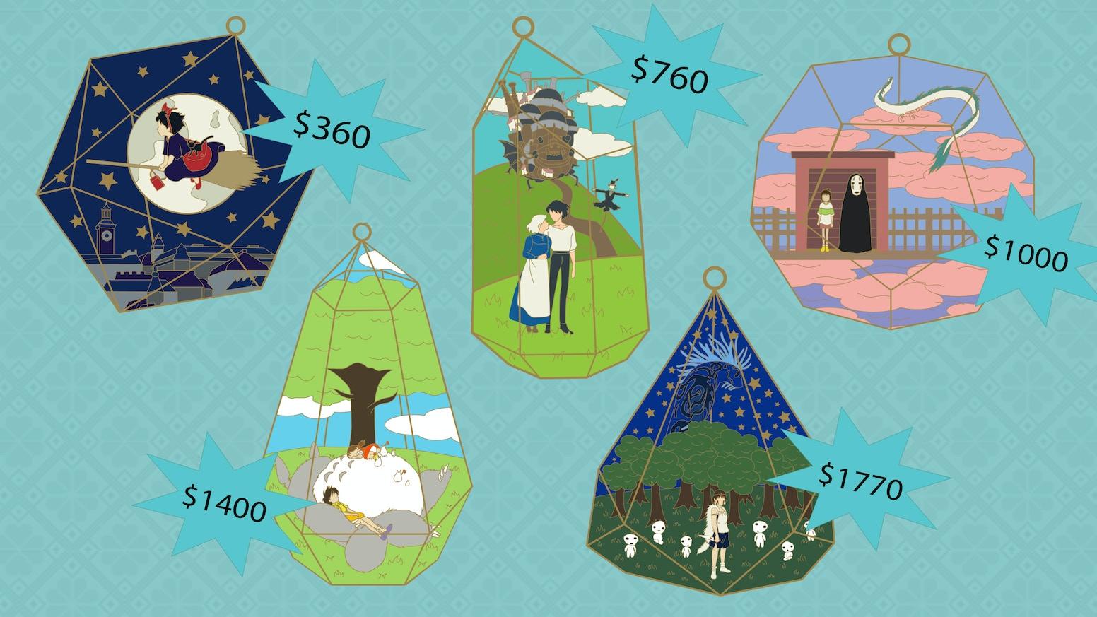 Studio Ghibli Terrarium Enamel Pins by NightRose Pins