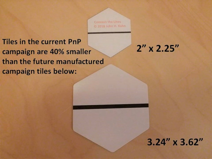 Size difference between the PnP and manufactured versions of the tiles.