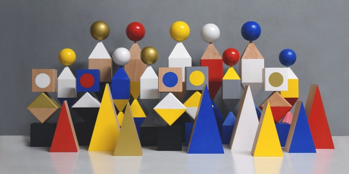 A series of modular and handcrafted sculptures made up of simple shapes and primary colours. Create your favourite setup!
