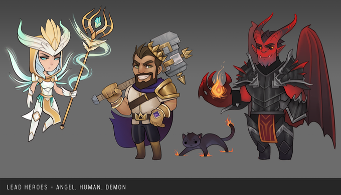The first three Heroes are representatives of the three races: Angels, Humans, and Demons.