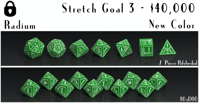 Will be added to the list of Core Sets and made available to order as 7 piece polyhedral and 10 piece D10 sets.