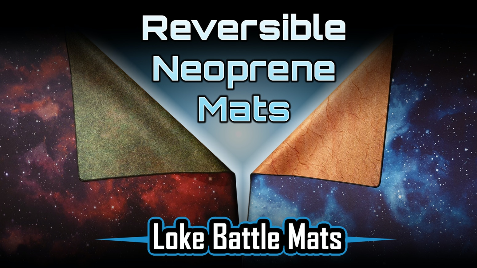 Double sided quality mousemat skirmish game battle mat offering the best of both; terrain on one side and a starscape on the other.