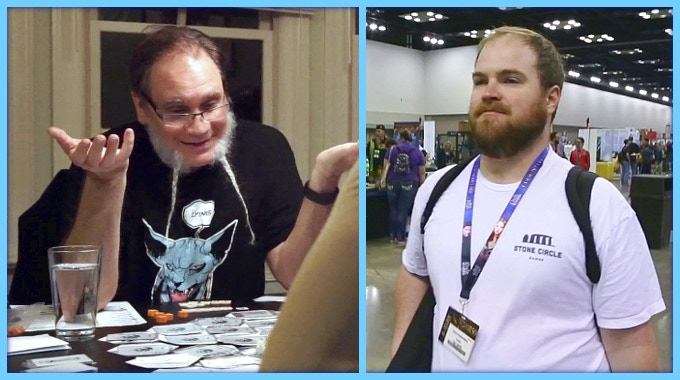 Doug Schepers (left) playtests his new game and Chris Faulkenberry (right) takes his game to Gen Con to promote.