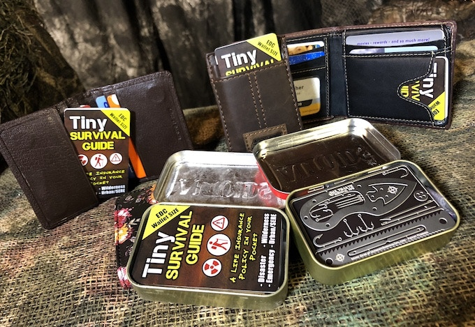 The Tiny SURVIVAL GUIDE and Tiny SURVIVAL CARD are both sized to fit comfortably in standard sized wallets and ALTOIDS® Tin Survival Kits.