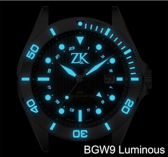 Superluminova BGW9 (blue) ilumination