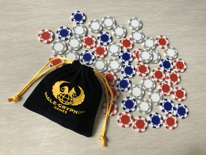 Optional Buy -- 100 Poker Chips made especially for Railways of the World (40 white, 40 red and 20 blue) -- 22mm ABS plus EGG logo cloth bag