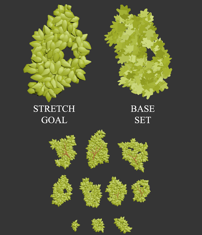 A quick comparison between the base set and stretch goal leaves as well as the overall stretch goal leaf set.