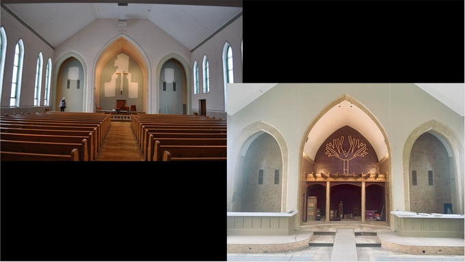 Interior Front View Before and Current
