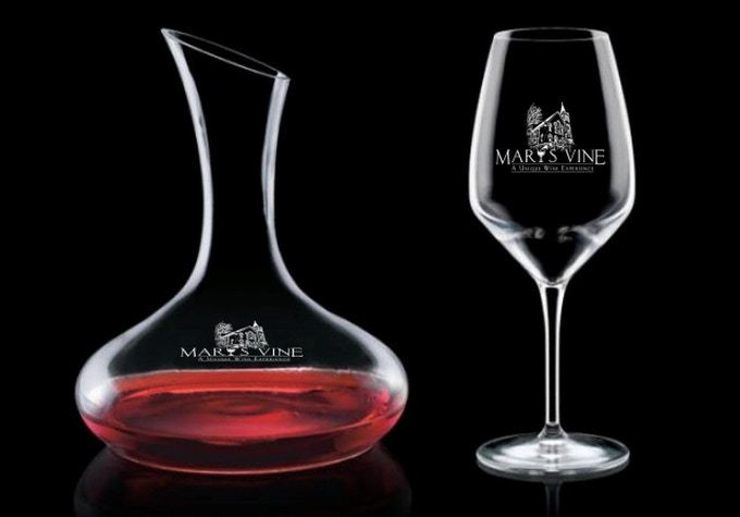 Crystal Decanter and Crystal Wine Glass