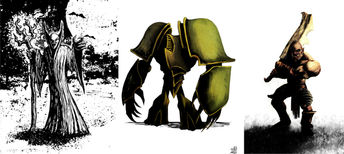 Some examples of Jeremy's creature art. Other examples will be found in the finished book.
