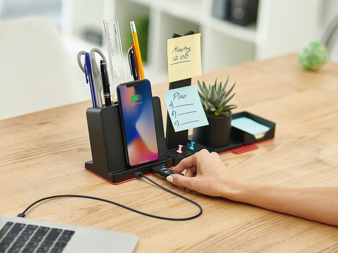 Access your data and charge devices with the built-in USB hub.