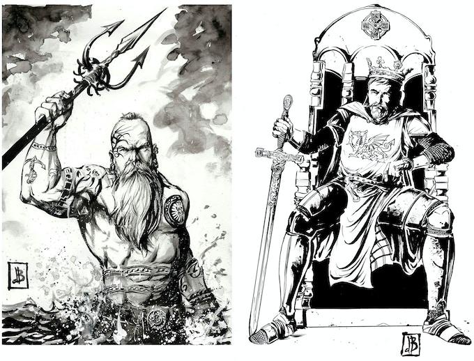 Examples of Silvio's ink wash and inked original art.