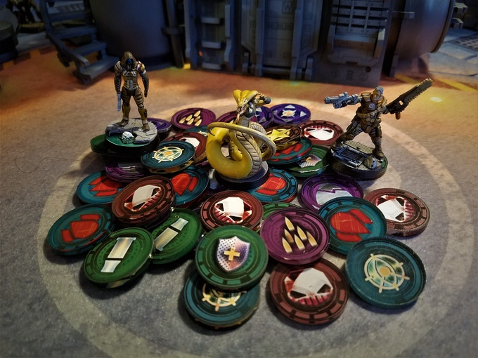 Double-sided acrylic tokens to track the action!