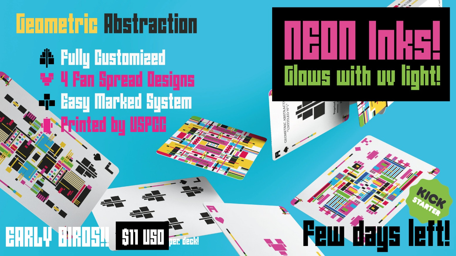 Geometric Abstraction Playing Cards Marked System Relaunch
