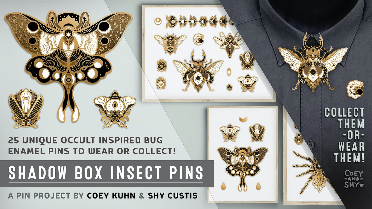 An fantastical series of occult-inspired insect pins, suitable for wear or framing.