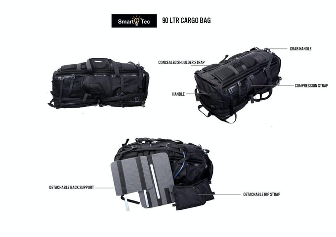 TRANSFORMER RUCKSACK SHOWN IN 90Ltr CARGO BAG CONFIGURATION.