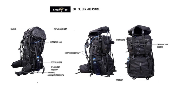 TRANSFORMER RUCKSACK SHOWN IN 120Ltr RUCKSACK CONFIGURATION.