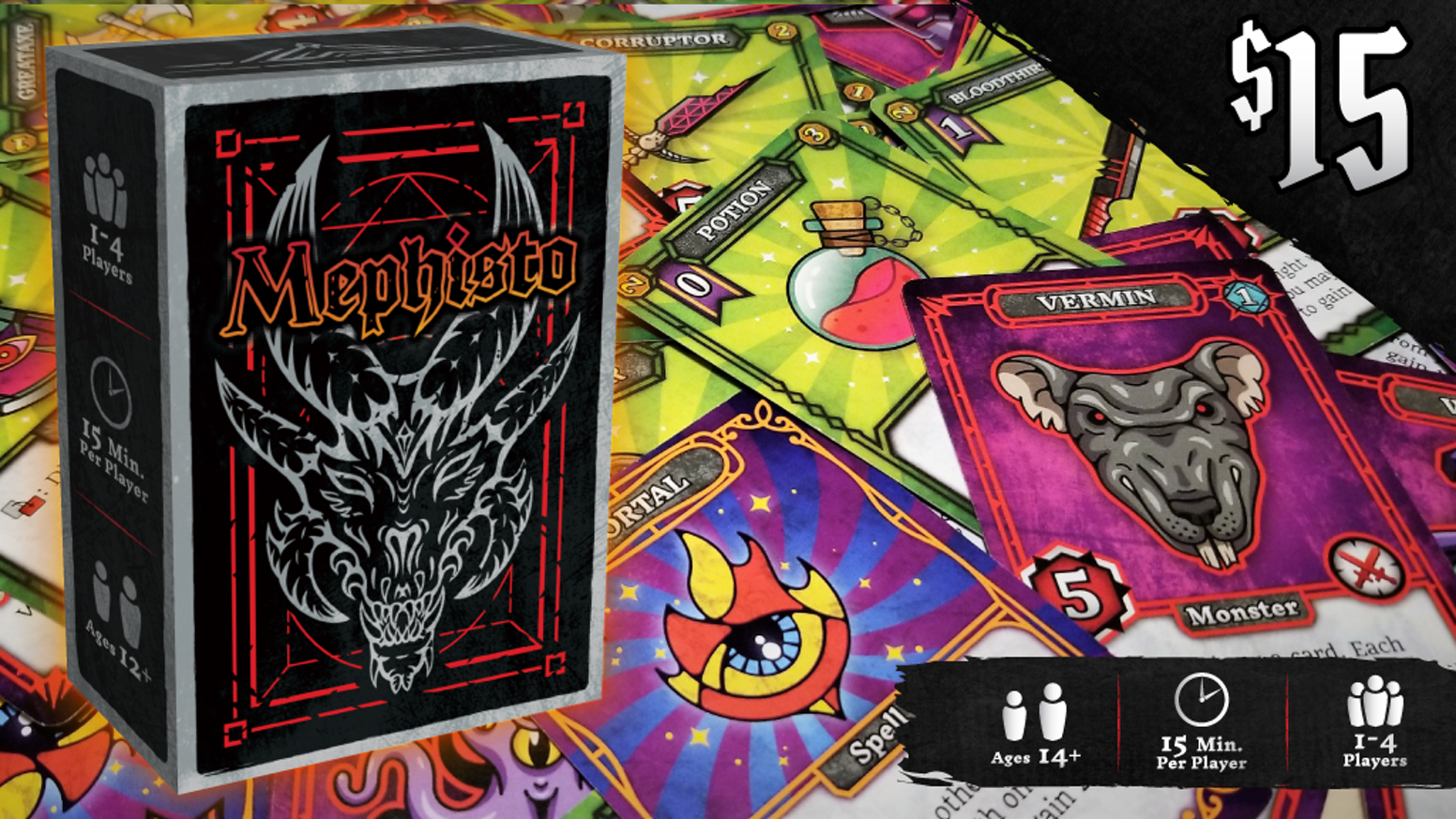 A quick-playing competitive dungeon crawl card game for 1-4 players