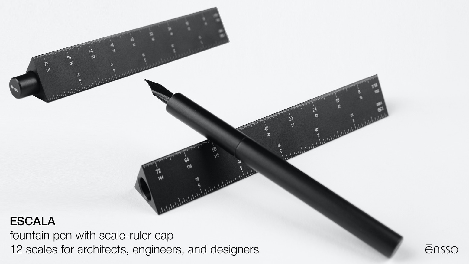 Fountain pen with a cap that serves as scale-ruler for architects, engineers, and designers- graded with 12 metric and imperial scales.