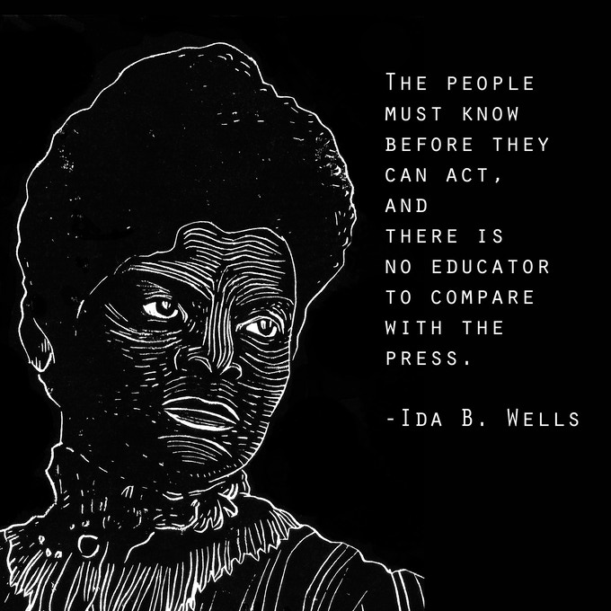 Ida B. Wells poster by Billy Dee. One of your options for a fundraiser perk! See the other gorgeous journalist posters below.