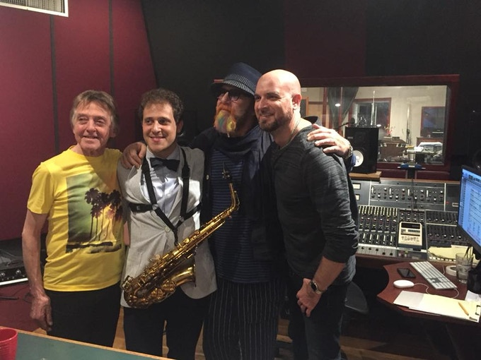 Joey and Mark with engineer Mario McNulty and sax play Danny Lipsitz