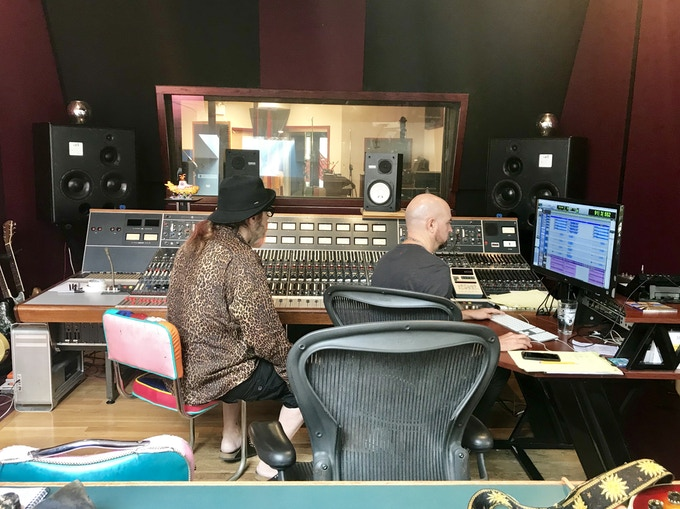 Producer Mark Hudson and audio engineer Mario McNulty working on the new Joey Molland tracks at Mission Sound in Brooklyn