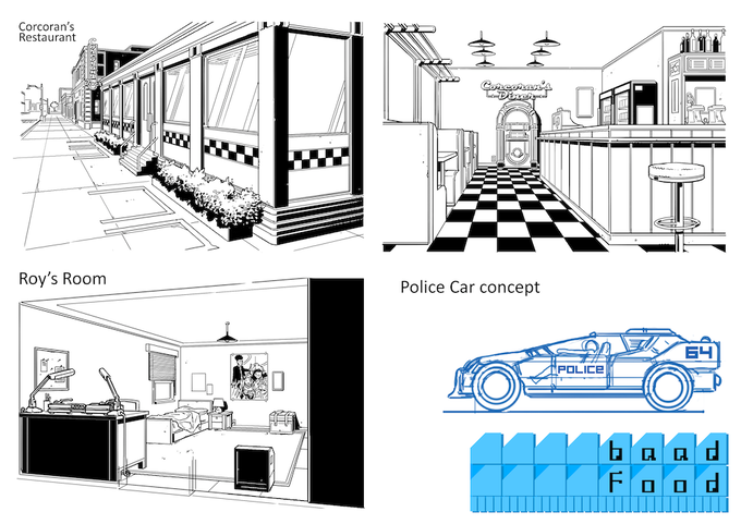 Interiors of Roy's Room, the Diner and more work on the Police Car.