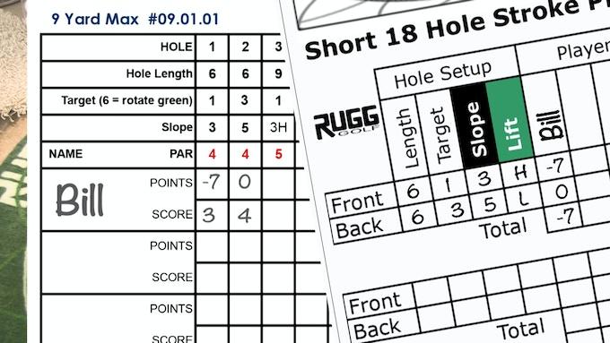 Short game and Long game scorecards