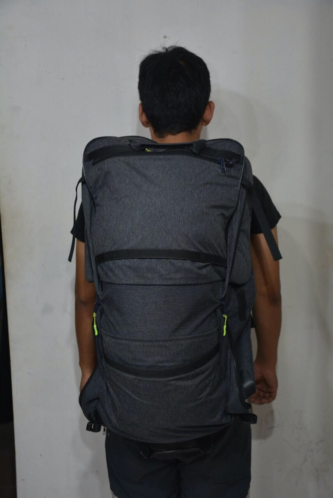 TRANSFORMER RUCKSACK FIRST FUNCTIONAL PROTOTYPE. 120LTR RUCKSACK CONFIGURATION