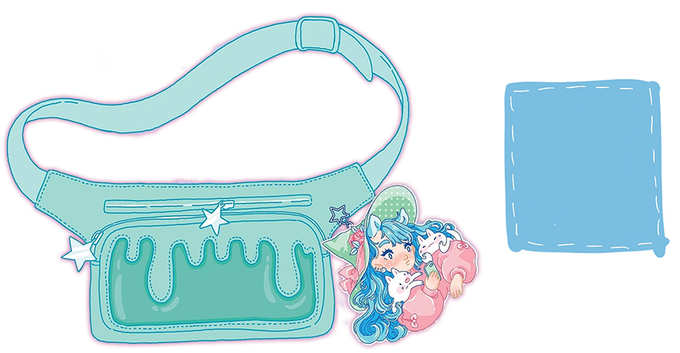 Fanny pack will be mint and the shoulder bag will be blue! Charm by Alisa!