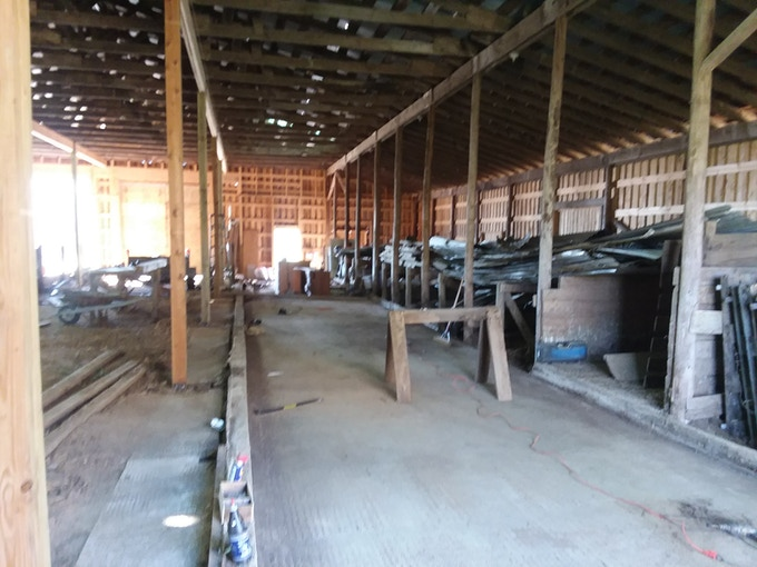 This is the boatshop before we got started
