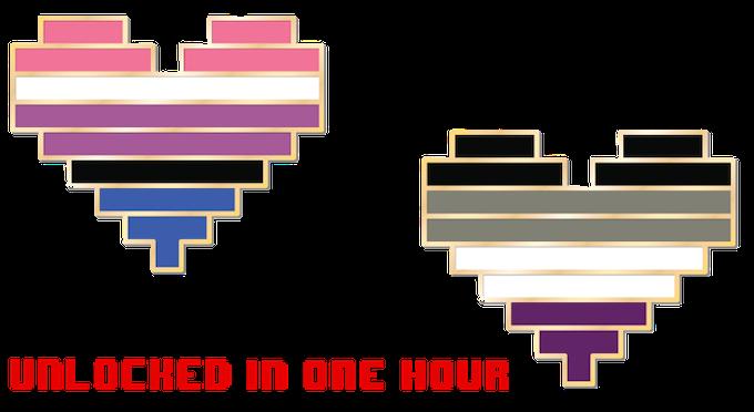 Genderfluid and Asexual Pride pins unlocked in one hour!