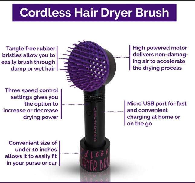 Cordless Hair Dryer Brush Diagram