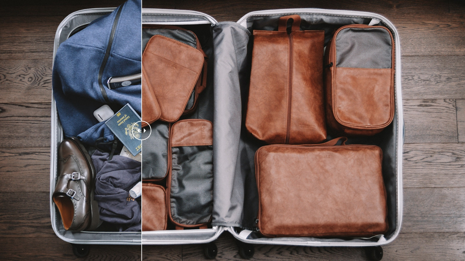 Complete 9-piece kit of packing cubes and other bags, everything you need is always neatly packed, but readily accessible.