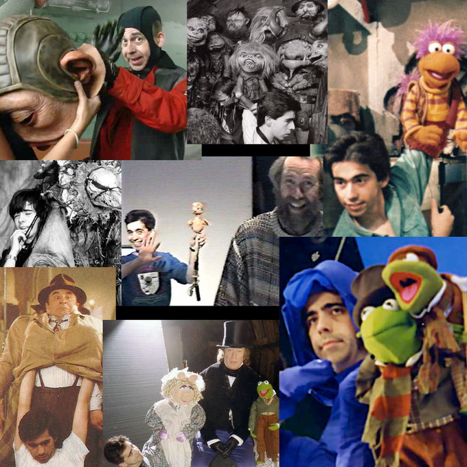 Mike Quinn working puppets on assorted films and TV shows.