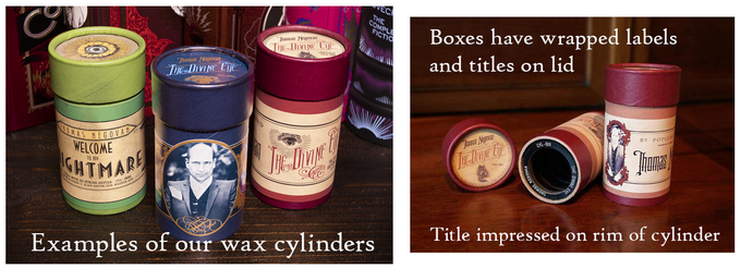 Examples of earlier wax cylinders we have produced