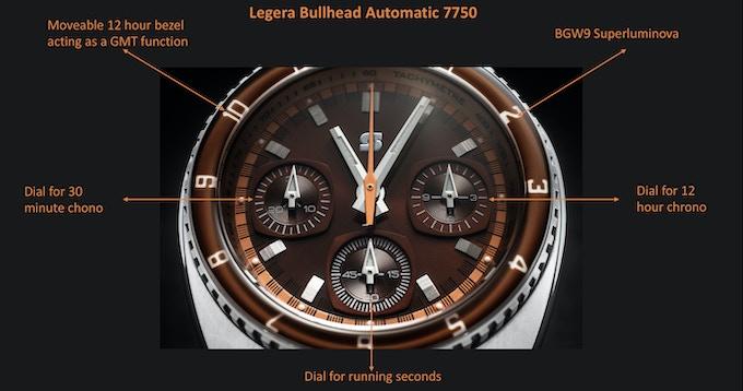 Legera Bullhead Valjoux 7750 Automatic dial layout