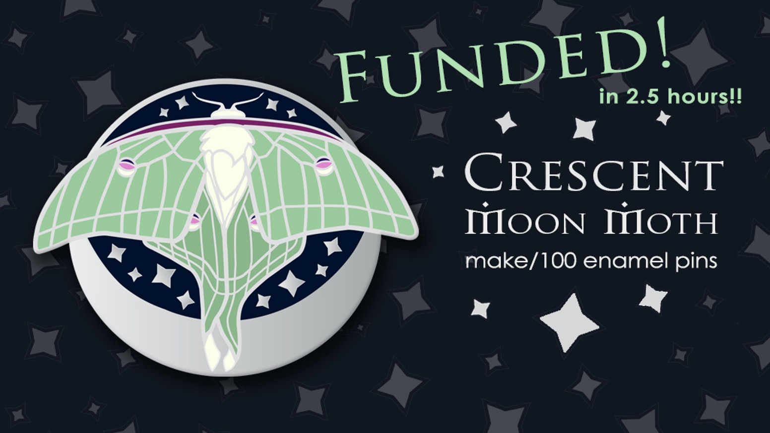 The Crescent Moon Moth is a limited edition hard enamel pin inspired by my love of nature and magic.