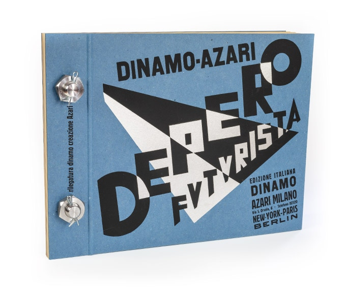 "Cover of the Bolted Book Facsimile, an exact replica of ""Depero Futurista."" 240 pages, 12.5 x 9.5 in."