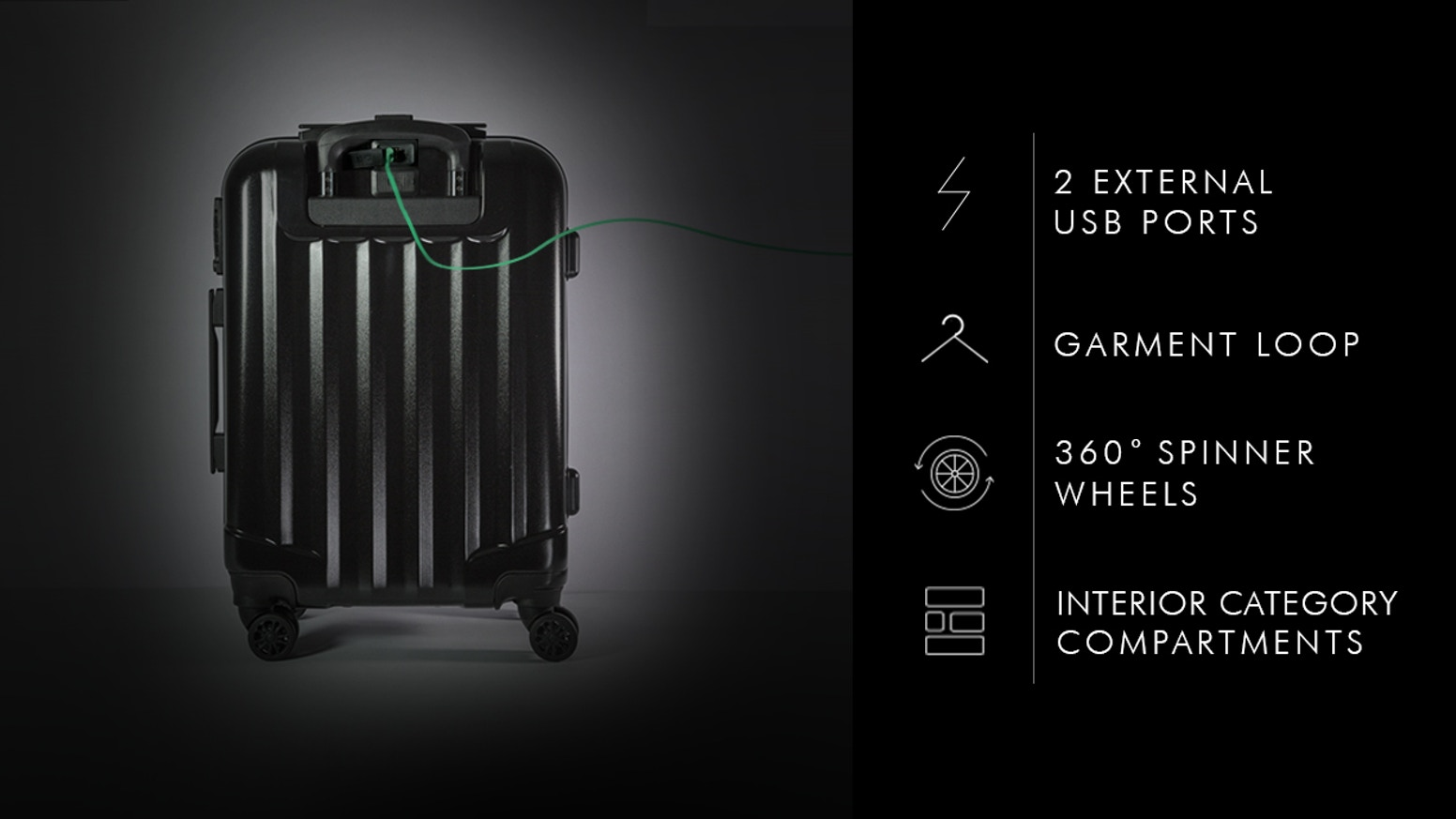 100% Polycarbonate Shell | 2 USB Ports | Airline-Approved PowerPack | Interior Category Compartments | Embedded Checklist | Ultra Light